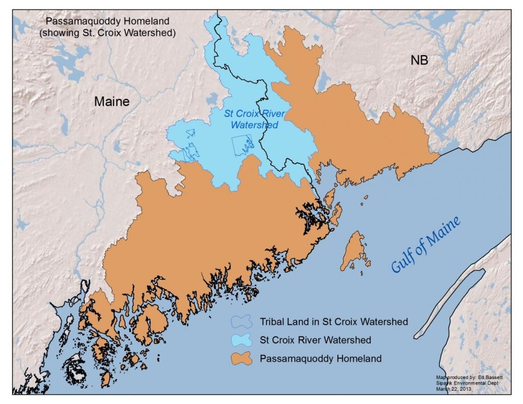 Passamaquoddy homeland showing St.Croix watershed